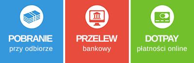 sposoby płatności: online, przelew, przy odbiorze